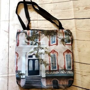 Canvas tote bag with townhouse print black straps